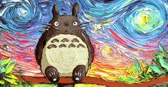 My Neighbor Totoro Art Starry Night Giclee print van Gogh Never Met His Neighbor by Aja Choose size and type of paper - Anime Art Studio Ghibli, Studio Ghibli Movies, Anime Pokemon, M Anime, Anime Art, Ponyo Anime, Anime Girls, Anime Toys, Manga Girl