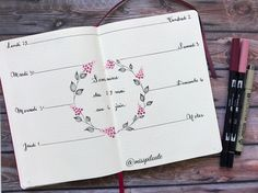 """362 mentions J'aime, 15 commentaires - ραυℓιиє (@misspiloute.bujo) sur Instagram : """" #flowers #wreath #drawing #weekly #bujo #bulletjournal #bujofr #journaling #leuchttrum1917…"""""""