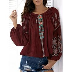 SHARE & Get it FREE | Fashion Scoop Neck Lantern Sleeve Embroidery Blouse For WomenFor Fashion Lovers only:80,000+ Items • FREE SHIPPING Join Twinkledeals: Get YOUR $50 NOW!
