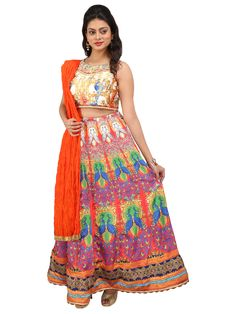 Multicolor Peacock Design Digital Print Lehenga