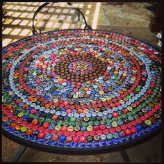 DIY BottleCap Table Perfect For A Man Cave Or An Outside Side Table...Remember To Pour Resin Over The Top...GET TO DRINKING!!
