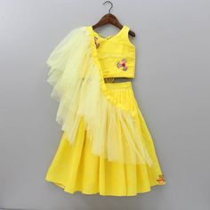 Pre Order: Yellow Shiny Lehenga With Frilly Dupatta Baby Girl Party Dresses, Kids Outfits Girls, Little Girl Dresses, Kids Indian Wear, Kids Ethnic Wear, Kids Dress Wear, Kids Gown, Girls Wear, Girls Frock Design