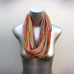 Gold Scarf Yellow Scarf Orange Scarf Infinity Scarves by Necklush Scarf Necklace, Scarf Jewelry, Fabric Jewelry, Tribal Necklace, Tribal Jewelry, Bohemian Outfit Men, Tribal Outfit, Bohemian Hair, Womens Fashion For Work