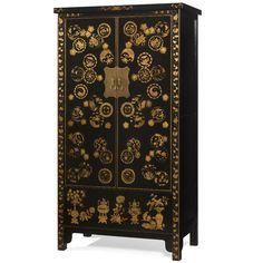 Charmant Chinese Wedding Cabinet In Black Lacquer With Gold Leaf Decoration.  Traditionally In China, Large