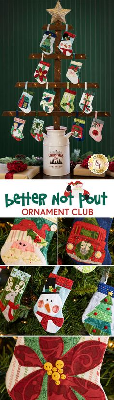 Remember the simple joys of Christmas with the adorable Better Not Pout Stocking Ornament Club which includes twelve individual kits to make these festive dimensional ornaments that each feature a timeless appliqué design with sweet details! The Better Not Pout fabric collection by Nancy Halvorsen for Benartex is used to bring each stocking to life!