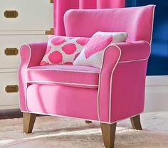Shop kids chairs and kids lounge chairs great for loungin' and play. Find your kids' next favorite chair at Pottery Barn Kids. Pink Love, Pretty In Pink, Hot Pink, Bright Pink, Tout Rose, Mini Chair, Pink Furniture, Upholstered Furniture, Kids Seating
