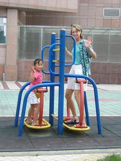 "Tourists in China: ""We found some public exercise equipment along the street on one of our walks. This is quite common, we have discovered."""