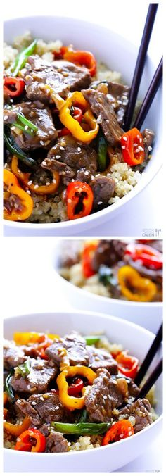 Easy Pepper Steak -- super easy to make, either with these cute mini peppers or traditional bell peppers | gimmesomeoven.com #dinner #recipe