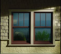 A-Series Double-Hung Windows, Color: Cocoa Bean, Specified Equal Light Grilles - Upper Sash Only. Exterior Trim Style: Flat with Extended Head and Sill, Color: Sandtone Andersen Exterior Trim… Exterior Door Trim, House Paint Exterior, Exterior House Colors, Exterior Windows, Bungalow Exterior, Craftsman Exterior, House Windows, Windows And Doors, Wood Windows
