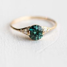 Teal Green Sapphire Lady's Slipper Engagement Ring in Solid 14k Yellow Gold by Melanie Casey Jewelry #jewelry