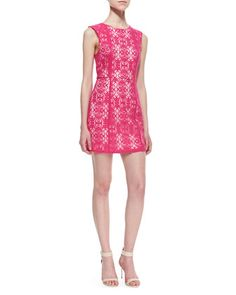 Divine Light Scrolling Lace Dress, Hot Pink by Kelli & Talulah at Neiman Marcus.