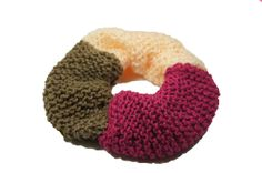 """chunky handknitted scrunchie in fandango pink, light pink and khaki by TheScrunchiePuss on Etsy - 20"""""""
