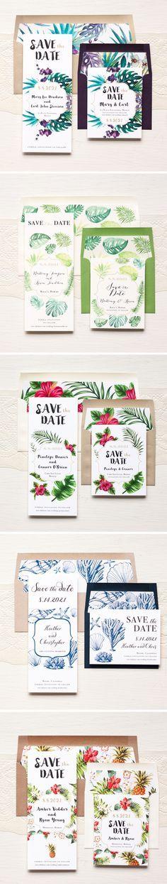 Aloha! Tropical Inspired Save The Dates #pineapple #tropical #wedding #destination #beach #mexico #florida #hawaii #savethedate #cards #invitations