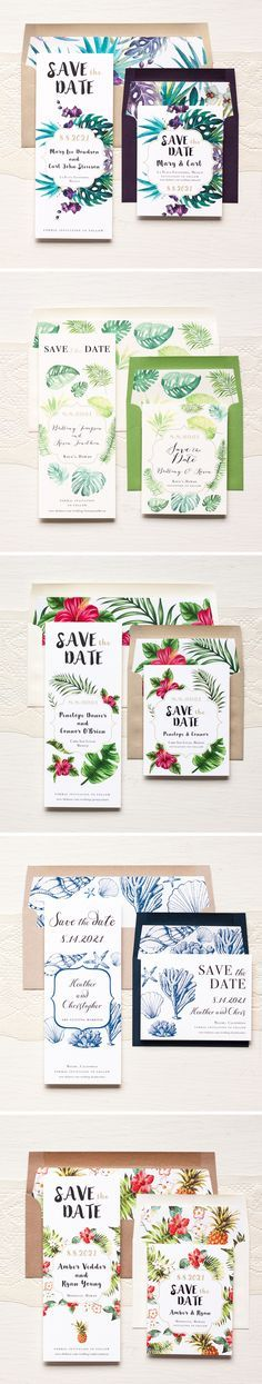 Aloha! Tropical Inspired Save The Dates #pineapple #tropical #wedding #destination #beach #mexico #florida #hawaii #savethedate #cards #invitations
