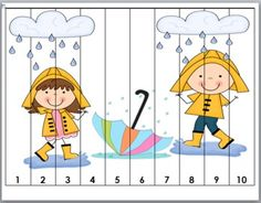 Spring Math Number Puzzles for Kids Rainy Days Counting Puzzles Preschool Weather, Kindergarten Activities, Fun Math, Educational Activities, Math Games, Preschool Activities, Kids Math, Counting Puzzles, Number Puzzles