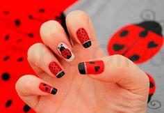 Nail art ideas ladybug nails I love it. Nail Designs 2015, Nail Designs Pictures, Creative Nail Designs, Simple Nail Art Designs, Easy Nail Art, Creative Nails, Acrylic Nail Designs, Acrylic Nails, So Nails