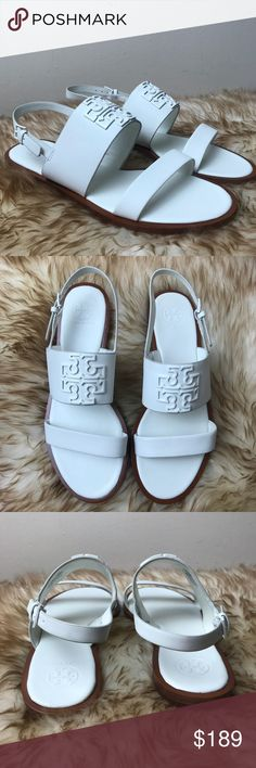 5f1e71f34a6 Tory Burch Melinda Powder Coated Sandal White Logo New Authentic item Logo  sandal Floor model item no box or dust bag or extras May have small ...