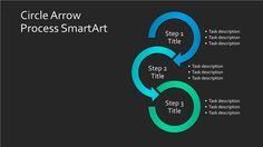 Download Circle Arrow Process Chart SmartArt Slide (blue-green on black, widescreen)
