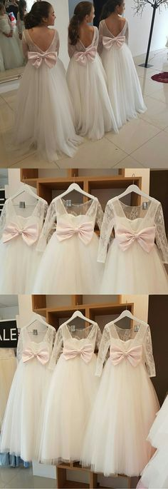 Lovely Puffy Tulle Backless Flower Girl Dresses with Long Lace Sleeves 2018