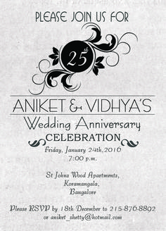 grey and black 25th wedding anniversary invitation with wordings