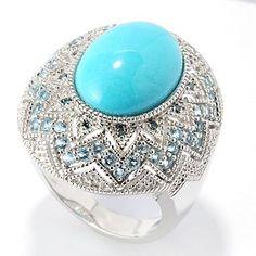Gem Insider Sterling Silver 14 x 10mm Sleeping Beauty Turquoise & Multi Gemstone Ring