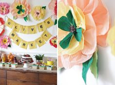 peach and emerald green, pinks and yellows  pretty combination