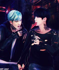 BTS Fanart || Kim Namjoon (RapMonster) & Kim Seokjin (Jin) (NamJin) by eto-nani