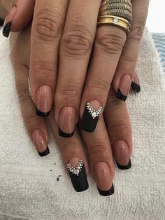Unhas decoradas com joias 💅🏻 unhas decoradas escuras , Gorgeous Nails, Pretty Nails, French Acrylic Nails, Aycrlic Nails, Nail Art Videos, Elegant Nails, Beautiful Nail Designs, Nail Arts, Nails Inspiration