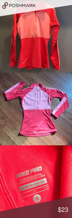 Nike Zip Up in Two Toned Orange/Red Need motivation to work out? This cute zip up will motivate you! Nike, gently used. Nike Tops Sweatshirts & Hoodies