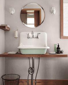 Home Interior Bathroom vintage green sink and circle mirror. Upstairs Bathrooms, Downstairs Bathroom, Bathroom Renos, Bathroom Interior, Modern Bathroom, Small Bathroom, Vintage Bathroom Sinks, Remodel Bathroom, Bathroom Layout