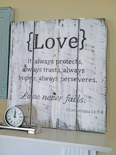 Handpainted Barn Wood Sign with Love scripture: 1 Corinthians 13, Rustic Primitive Shabby Chic Vintage Sign… on a mantle or side table  | followpics.co