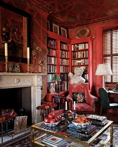 Room of the Day ~ another view of Alidad's London Library with square gold & glass coffee table.  Love corner shelves.  11.4.2013