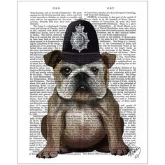 FabFunky Bulldog Policeman Print (5375 ALL) ❤ liked on Polyvore featuring accessories and multi