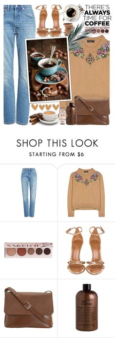 """But first coffee !"" by euafyl ❤ liked on Polyvore featuring Levi's, Dolce&Gabbana, Grace, 100% Pure, Aquazzura, Valextra, philosophy, Chopard, coffee and daily"