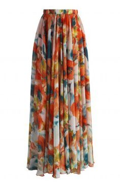 Orange Blossom Watercolor Maxi Skirt - Retro, Indie and Unique Fashion