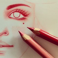 Red colored pencil drawing art - sketch ideas and inspiration malarstwo, dr Cool Pencil Drawings, Drawing Sketches, Art Drawings, Pencil Sketching, Realistic Drawings, Drawing Faces, Drawing Tips, Drawing Ideas, Love Art