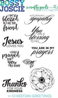 These Christian sentiments are perfect for encouraging or offering sympathy or saying thank you.These photopolymer stamps cling to acrylic blocks or can be used with MISTI or Fiskars stamp press.Made in the USA$12