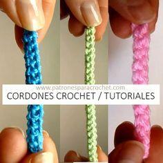 Best 12 Crochet braids/strings for bags Bracelet Crochet, Bracelet Fil, Crochet Cord, Crochet Diy, Love Crochet, Irish Crochet, Crochet Crafts, Crochet Projects, Cordon Crochet