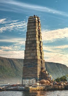 Stacking Palettes For The World's Biggest Bonfire In Norway   fun funny funny pics
