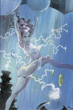 Electric Bride of Frankenstein Comic Art