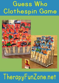OT Idea of the Week: Guess Who Clothespin Game - pinned by – Please Visit for all our pediatric therapy pins Speech Therapy Activities, Language Activities, Motor Activities, Activities For Kids, Activity Ideas, Pediatric Occupational Therapy, Pediatric Ot, Speech Language Therapy, Speech And Language