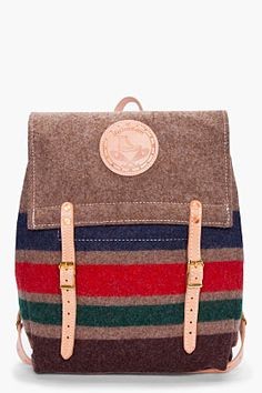 YUKETEN //   Striped Wool Canoe Backpack