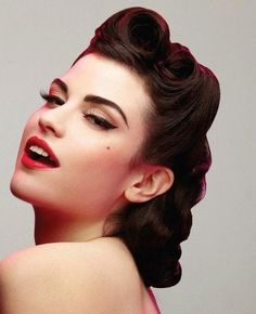 1940s Hairstyles Victory Rolls | these upper rolls look especially well on long hair one roll is ...