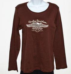 Harley Davidson Womens Dark Brown T-Shirt Beige Embroidered Eagle Design XL