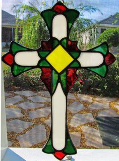 Stained Glass Cross ~ Christian Cross ~ Christmas Cross ~ Cross Sun Catcher ~ Religious Gift  ~ Communion Gift ~ Easter Gift