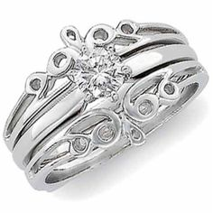 14K White Gold Designer Style Ring Guard Enhancer Jewelry Days. $369.00. Also Available in 14Kt. Yellow Gold.. Center Ring is not included.. Beautifully crafted into a delicately intricate unique and very lovely design.. This lovely and contemporary ring guard enhancer is fashioned in gleaming 14Kt. White gold.. Save 35% Off!