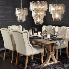 When you invite everyone over for a dinner party, but it's really all about those lights. Wine, dine and shine with all new decor--tap the photo or the link in our bio to get the look! Comfortable Dining Chairs, Dining Decor, Dining Rooms, Home And Deco, Fashion Room, Online Furniture, Vintage Home Decor, Home And Living, Furniture Design