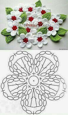 Crochet Mini Bead Flower String Tutorial-Video: How to crochet flower with bead? Flores Tejidas charts for Flox Carnations & Freesia Crochet Cherry Blossom It's Spring and around us Everything is becoming alive. Foto s van de muur van crochet 382 foto s Crochet Leaves, Crochet Motifs, Crochet Diagram, Crochet Chart, Love Crochet, Irish Crochet, Easy Crochet, Knit Crochet, Crochet Brooch