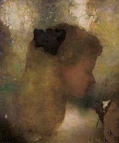 Jan Mankes (15 August 1889, Meppel, Drenthe – 23 April 1920, Eerbeek)- Meisje met witte bloem, 1911