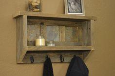 Rustic Naturally Weathered Reclaimed Wood Coat Rack With Shelf & Slate Tiles